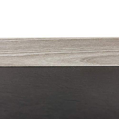 Sockelleisten mit Nut in Pinie grey | Fußleisten mit MDF-Kern | Fußbodenleisten in den Maßen 2,4m x 5,8cm | Wandabschlussleiste mit rückseitiger Clipfräsung & geradem Abschluss | MADE IN GERMANY