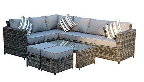 Yakoe Papaver Serie Wintergarten 8 sitzer Ecksofa Poly Rattan Lounge Set Outdoor Gartenmöbel, Grau, 180.5 x 70 x 85 cm