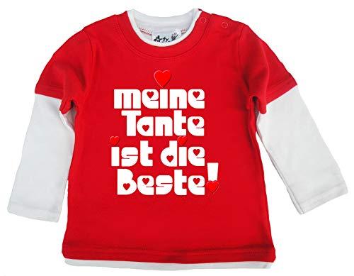 Dirty Fingers, Meine Tante ist die Beste!, Baby Skater Top langärmlig, 24-36m, Rot & Weiβ