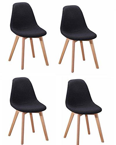 Meubletmoi Lot de 4 chaises Design tapissées en Tissu Gris Anthracite - Style Moderne - Assise Confort - Pieds en Bois de hêtre - Collection Sandy