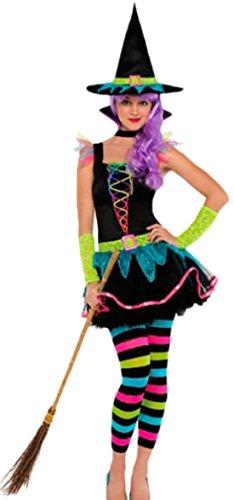 n Kinder Kostüm Neon Hexe, M, Mehrfarbig (Walking Dead Zombie Mädchen Halloween-geist)