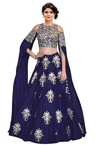Siddeshwary Fab Women\'s Taffeta Silk With Blouse Piece Lehenga Choli (Navy Blue_Semi Stitched_Free Size)