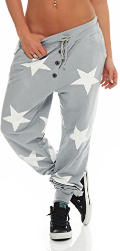 Malito Damen Sweatpants mit Sterne Print | Baggy zum Tanzen | Jogginghose mit Knopfleiste | Trainingshose 8025 (hellgrau)