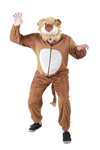 Foxxeo Löwen Kostüm für Erwachsene Damen und Herren Tierkostüm Overall Jumpsuit Größe ()