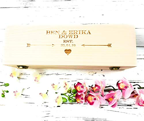 Personalised Engraved Oak Style Wooden Wine Gift Box Wedding Valentines Gift Lined with woodwool - Wine not Included