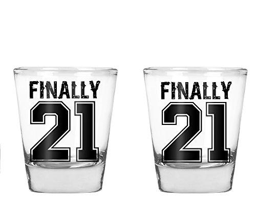 Endlich 21-Funny 21. Geburtstag Geschenk-1,75Oz Shot Glas farblos (Geburtstag Shot 21. Glas)