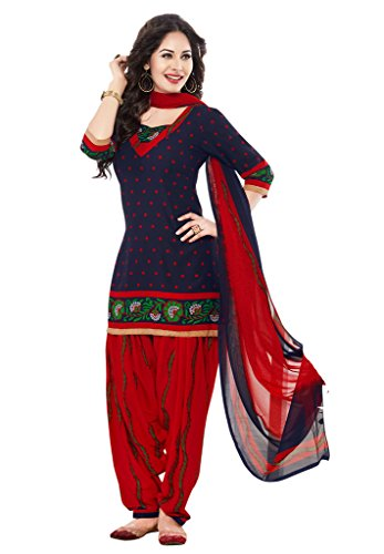Salwar Studio Women\'s Navy Blue & Red Synthetic Floral, Polka Dots Printed Unstitched Patiyala Suit with zari border