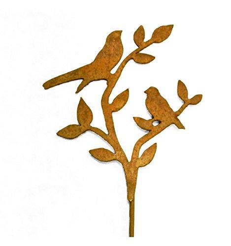 Metallmichl 2 Vögel auf AST – Edeltrost Stecker mit kurzem Stab Gesamthöhe 50 cm. Einzigartige Deko aus Edelrost.