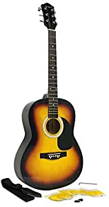 Martin Smith W-100 Acoustic Guitar Package with Strings, Plecs, Strap - Sunburst