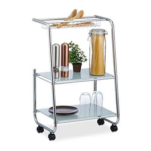 Relaxdays Rollwagen Metall mit 2 Glasablagen, Gitterkorb, schmaler Beistellwagen für Küche, HxBxT: 77x47x32,5 cm, silber