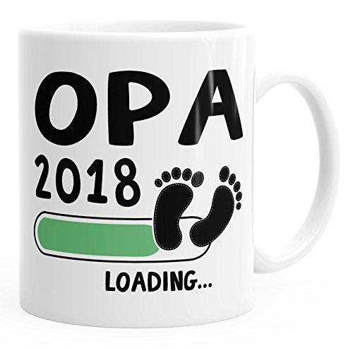 MoonWorks Kaffee-Tasse Opa 2018 loading Geschenk-Tasse für werdenden Opa Schwangerschaft Geburt Baby weiß unisize
