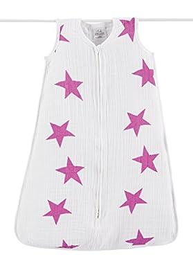 Aden + anais ligero-Saco de dormir para bebé para el verano talla M de XL, Twinkle Rosa Classic de muselina de algodón