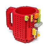 Ducomi Build-On Brick Mug - Tazza LEGO Compatibile per Colazione e Merenda - Tazza Costruzioni di Mattoni Fai da Te - Idea Regalo Originale per Grandi e Piccini - Sviluppa Creatività, Logica e Fantasia - 13 x 10 cm (Red)