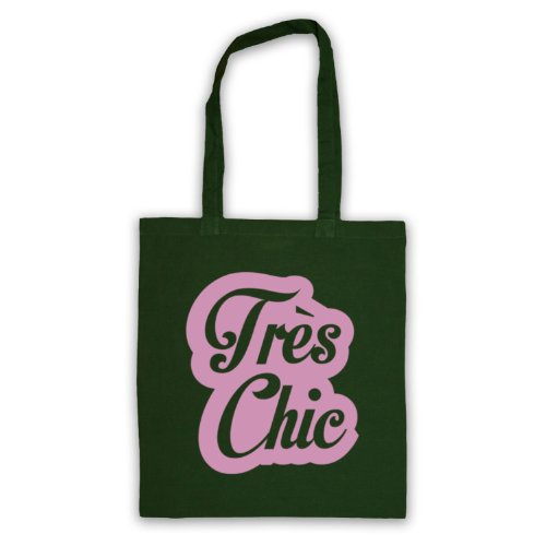 Tres Chic francese Slogan Tote Bag Verde scuro