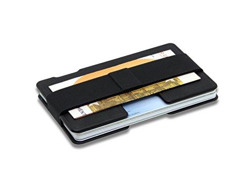 T1 Smart Aluminium Design Slim Wallet   Kreditkartenhalter mit NFC-Schutz   Anti-Kratz-Beschichtung   Platz für 1 bis 9 Karten   Minimalistische Geldbörse   Faire Produktion - Made in Austria   SCHWARZ -