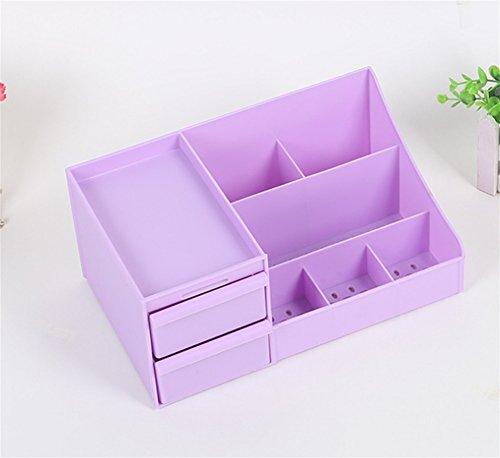 FUHOAHDD Aufbewahrungsbox Home Schlafzimmer Lady Kosmetik Aufbewahrungsbox Schublade Kunststoff Kosmetiktasche, Purple -