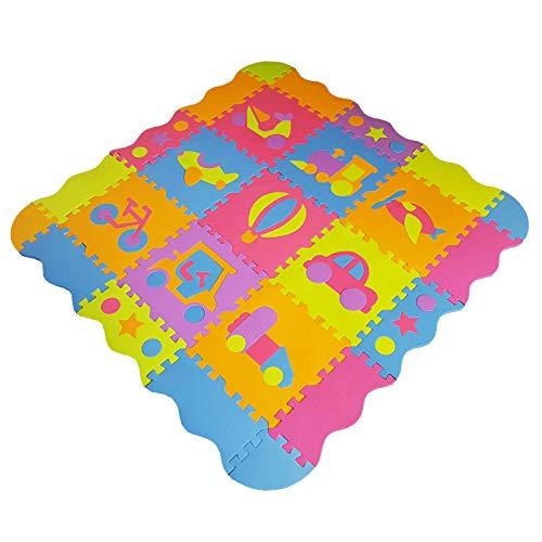 Tappeto Gioco Bambini in Soffice Schiuma Eva | Tappeto Puzzle da Gioco Multicolore | Tappetino Puzzle Antiscivolo | 25 Pezzi