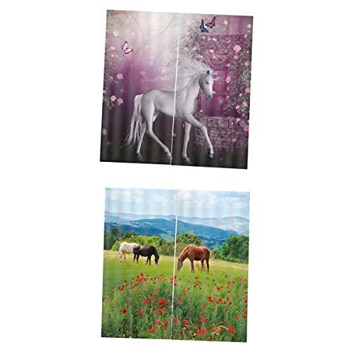 Fenteer 2 Stücke Einhorn DREI Pferde Vorhänge Schale Gardine mit 3D Druckmotiv aus Bunt Polyester Gewebe (Pferd-gewebe-panel)