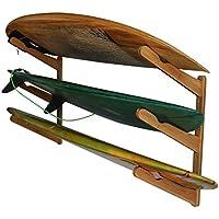 Triple | 3 Board Surfboard Holz Wand Rack | Display für Surfbrett | Longboard, Shortboard | Wake Kite- und Snowboard, Bambus