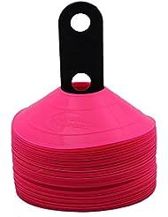 World Sport - Juego de conos de disco, con correa de transporte, 50 unidades, disponibles en 10 colores Rosa rosa