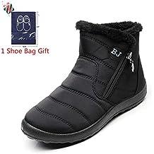 Morbuy Botas de Nieve Mujer, Invierno Unisex Forro Piel Plano Botines Calentar Zapatos Cremallera Impermeables
