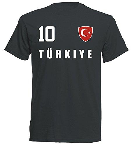Türkei Türkiye WM 2018 T-Shirt Trikot - schwarz ALL-10 - S M L XL XXL (S)