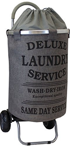 laundry-trolley-dolly-grey-laundry-bag-hamper-basket-cart-with-wheels-sorter-by-dbest-products
