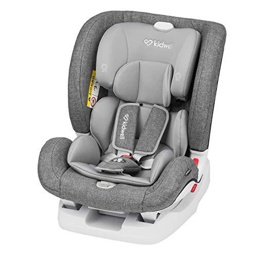 KIDWELL Autositz Kindersitz 0-36 kg | 0-12 Jahren | Gruppe 0+ / 1/2 / 3 | mit 5-Punkt-Gurtsystem & Isofix ECE R44/04 | verstellbare Kopfstütze und Rückenlehne | stabil & sicher | Grau