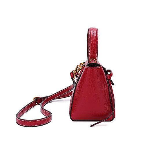 Frauen Vintage Echtem Leder Umhängetasche Lässig Eleganten Stil Handtaschen Totes Top Griff Taschen Weinrot
