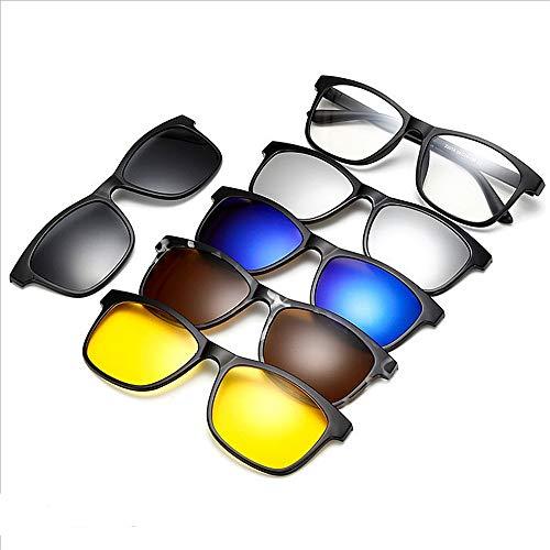 Y-WEIFENG Unzerbrechliche TR90 Sonnenbrille mit 5-teiligen austauschbaren Gläsern für Männer Frauen Clip-on UV-Schutz Sonnenbrille mit Magnetic