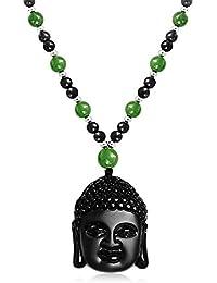 Bling Jewelry Ágata Obsidiana sintética Cabeza Buda Jade Collar Cordón de 26 aleación