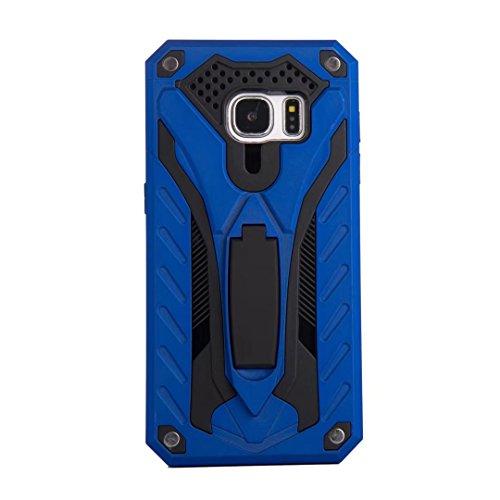 EKINHUI Case Cover Neuer stilvoller hybrider Rüstungs-schützender Abdeckungs-Fall Shockproof Doppelschicht PC + TPU rückseitige Abdeckung mit Kickstand für [Schock-Absorbtion] für Samsung-Galaxie S7 ( Blue