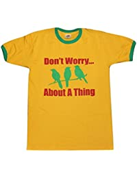 Blue Bagal Mens Ringer T Shirt Bob Marley 'Don't Worry About A Thing' Three Little Birds