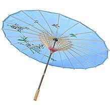 Paraguas de China - TOOGOO(R) Azul Paraguas de danza china de bambu de