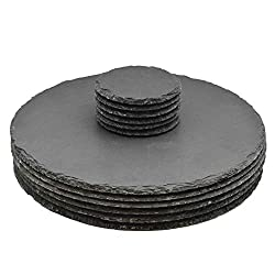Runde Schieferplatten - Platzteller-Set - 6 Untersetzer & 6 Platzteller