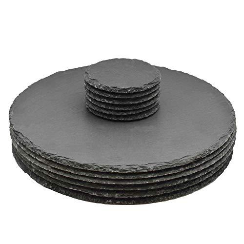 Argon Tableware Runde Schieferplatten - Platzteller-Set - 6 Untersetzer & 6 Platzteller -