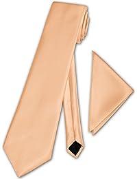 PABLO CASSINI Cravate classique 7,5 cm avec Mouchoir - 35 couleurs - Solide Pour Mariage