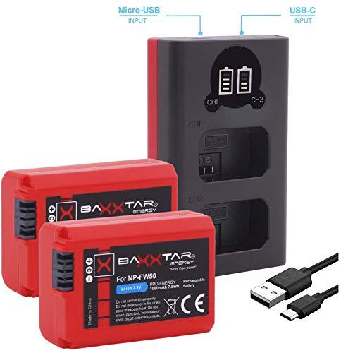 Baxxtar Pro (2X) Ersatz für Akku Sony NP-FW50 mit Mini 18592 LCD DUAL Ladegerät (Eingang USB-C und MicroUSB) - A55 Lcd