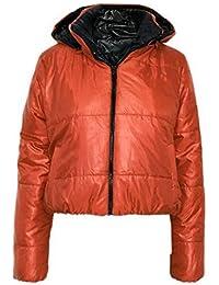 Glam Couture Neu Damen Kugelfisch Lack-Optik abnehmbarer gepolstert Kapuze Jacke  Mantel Top Damen Reißverschluss d72adab1a4