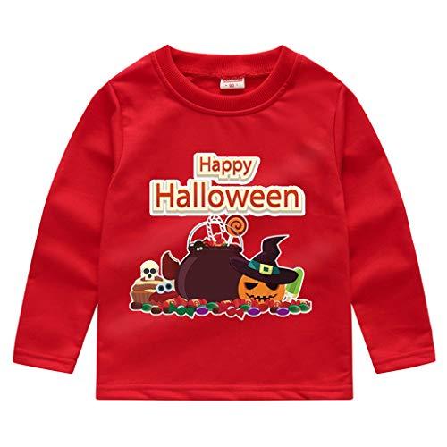 DIASTR T Shirts Baby Jungen Anzug Kinder Langarm Halloween Kürbis Brief Drucken T-Shirt Pullover Top (18m-5y)