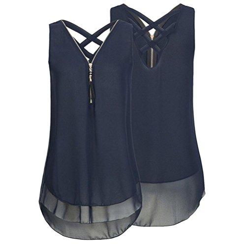 Kolylong Women Ladies Plain Tank Top Vest, Chiffon Sexy Sleeveless Camisole Cami Vest Plus Size Cross Back Hem Layed Zipper V-Neck T Shirts Tops