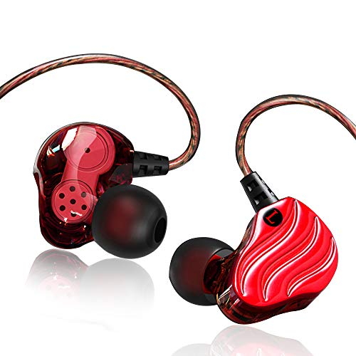 3.5MM Dual Dynamic Driver Heavy Deep Bass in Ear Auricolare con microfono Yianerm HiFi 4 Altoparlanti Dual Unit Sound Chamber Auricolare ad alta definizione Noise Isolating (Rojo)