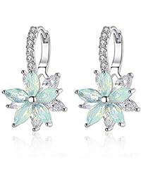 d48ed9330021 Pendientes mujer Pendientes plata con flor Cubic Zirconia Crystal Clip en  pendientes para mujeres niñas Pendientes