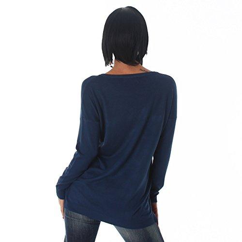 Jela Londres Mesdames chemise pull pull ras du cou sweat étoiles longue longue Bleu