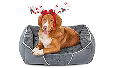 Pecute Plush Pet Bed for Cats Dogs,Soft Comfy Washable Dog Bed with Removable Cushion
