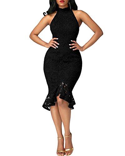 BIUBIU Damen Meerjungfrau Abendkleid Spitze Hochzeitskleid Cocktailkleid Schwarz DE 38