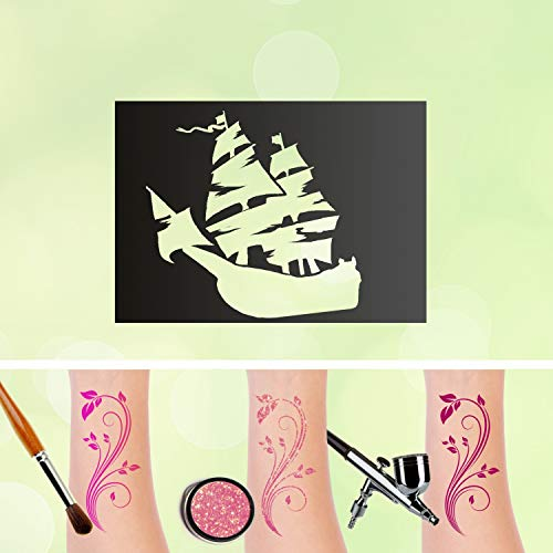 Tattoo Plantilla Barco Pirata purpurina Tatuajes auto-adhesivos