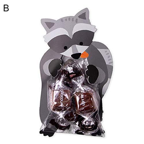 (xMxDESiZ 10 Stück Cartoon Lovely Rabbit Fox Bear Geschenktüten Kinder Süßigkeiten Beutel Ostern Decor)