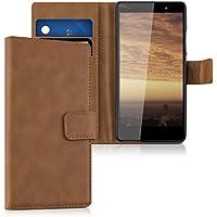 kwmobile Funda para Wiko Fever 4G - Wallet Case plegable de cuero sintético - Cover con tapa tarjetero y soporte en coñac