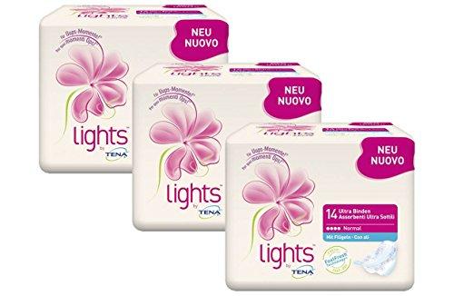 lights by TENA Ultra Binden Normal - Flügelbinden für Frauen mit sensibler Blase, sicherer Sitz dank Flügeln & diskrete Passform, Vorteilspack (3 x 14 Stück)